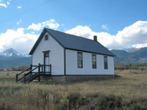 Restored historic Willows one-room schoolhouse, Custer County, Colorado